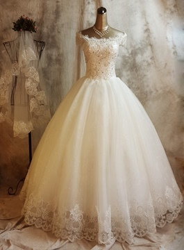 Ericdress Off the Shoulder Appliques Sequins Wedding Dress