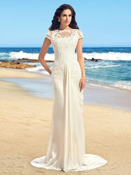 Applique Short Sleeves Sweep Sheath Wedding Dress