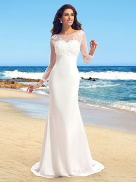 Sheath Bateau Neck Appliques Long Sleeves Court Train Wedding Dress