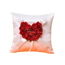 Ring Pillow In Ivory Satin With Red Rose Heart