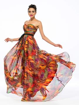 Pretty A-Line Sweetheart Printing Evening Dress