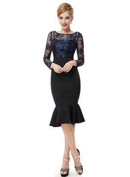 Awesome Sheath Lace Long Sleeves Cocktail Dress