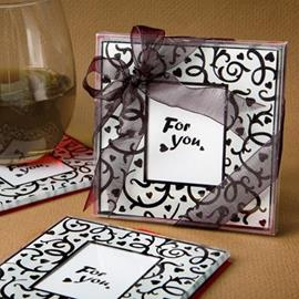 Wedding Favor Heart Print Photo Frame Design Cup Mat