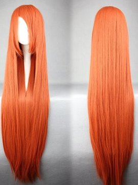 Ericdress Soryu Asuka Langley Hairstyle Long Straight Orange Synthetic Cosplay Wig 30 Inches