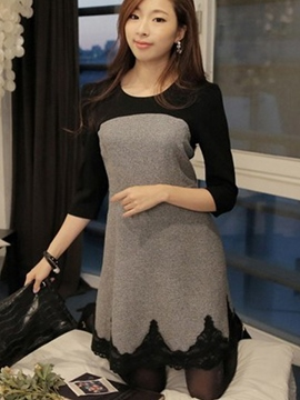 Color Block Lace Trimmed Casual Dress