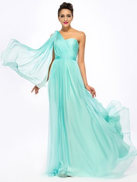 Timeless One-shoulder Ruffles A-Line Floor-Length Prom Dress
