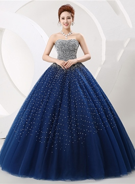 9ef8fc8283e Ericdress Luxurious Vintage Strapless Beading Lace-Up Ball Gown Dress