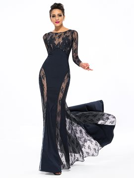 Sexy Bateau Lace Appliques Long Mermaid Evening Dress With SweepTrain