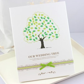 Green Tree Wedding Guest Book