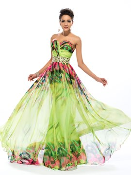 Robe longue impression florale a-ligne Sweetheart Ericdress
