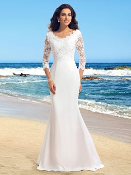 Ericdress V-Neck Beading Lace Wedding Dress with Sleeves