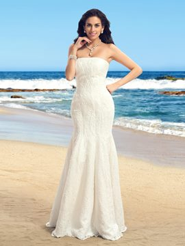 Concise Strapless Lace Mermaid Wedding Dress