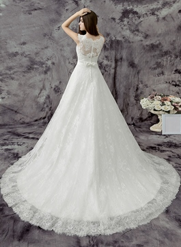 Scoop Neck Floor Length A-line Lace Wedding Dress