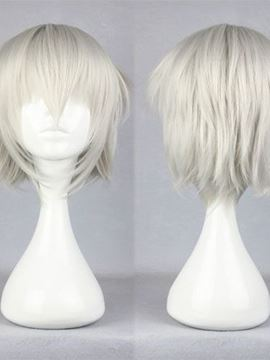 Ericdress Short Straight Silver Cool Straight Synthetic Cosplay Wig