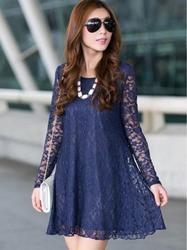 Ericdress Round Neck Solid Color Lace Dress