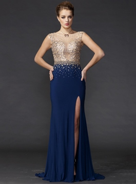 Glorious Bateau Backless Front-Split Evening Dress