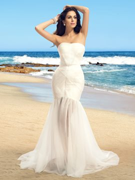 Concise Strapless Zipper-Up Sweep Train Mermaid Wedding Dress