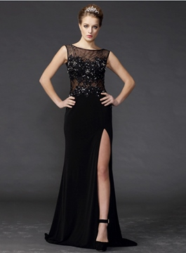 Glittering Sleeveless Sheer Neck Floor-Length Evening Dress