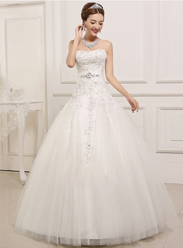 Classy Strapless Appliques Wedding Dress