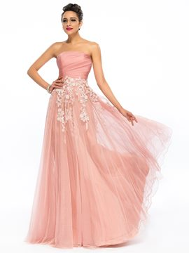 Dramatic Strapless Appliques A-Line Zipper-up Long Prom Dress