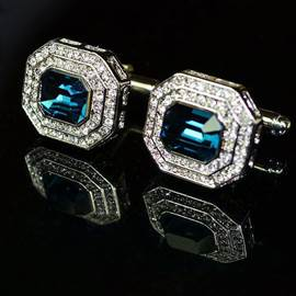 Classical Business Blue Cystal Men's Cufflinks