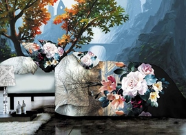 Fancy Flower and Tree Print 4-Piece Polyester Duvet Cover Sets