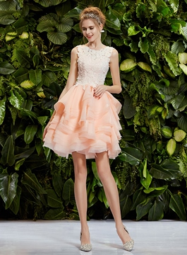 Ericdress Scoop Neck Lace Tiered Short Prom Dress