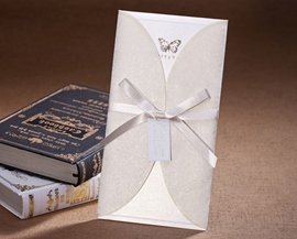 Classic White Wrap & Pocket Invitation Cards (20 Pieces One Set)