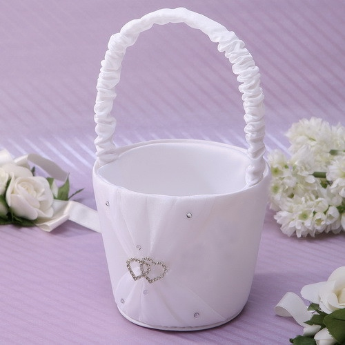 Classic White Flower Basket in Satin With Rhinestones