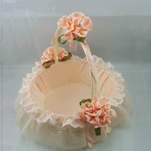 Princess Pink Rose Basket in Satin & Lace