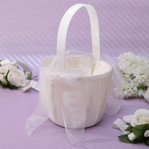 White Flower Basket in Satin With Bow