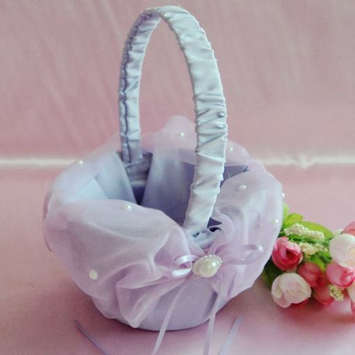 Purple Flower Basket in & Lace With Faux Pearl