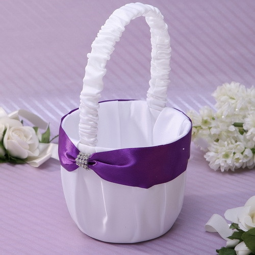 White Classic Flower Basket in Satin With Rhinestones