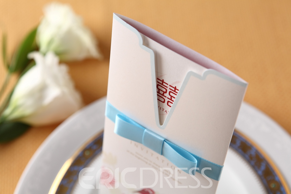Classic Design Wrap & Pocket Invitation Cards With Ribbons (20 Pieces One Set)