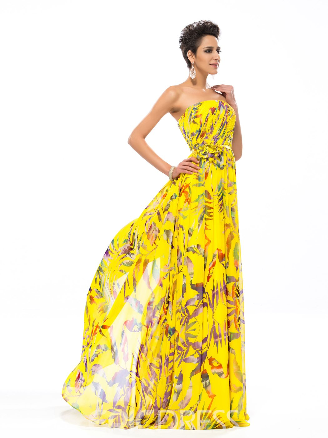 Simple Strapless A-Line Long Evening Printing Dress