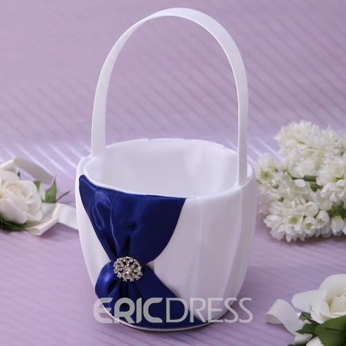 Classic White Flower Basket With Rhinestones