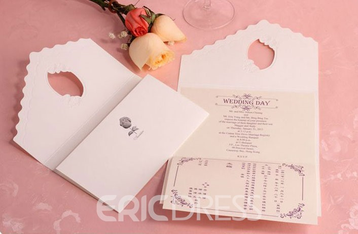 Hollow Out Hot Silver Rose Wedding Invitation (20 Pieces One Set)