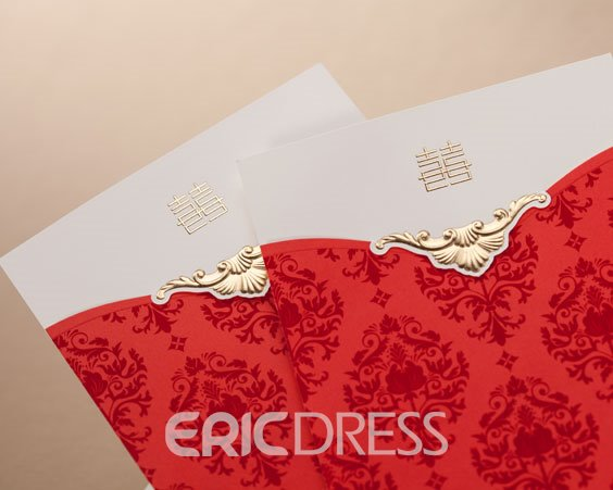 Floral Design Top Fold Invitation Cards (20 Pieces One Set)