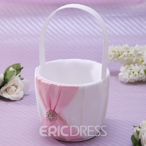 Flower Basket in Satin With Rhinestone