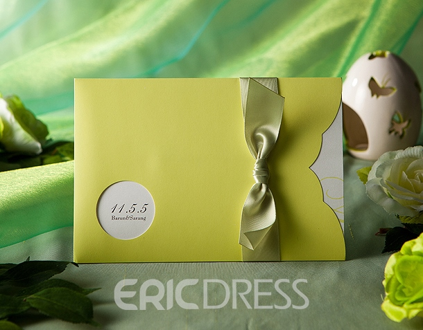 Classic Wrap & Pocket Green Invitation Cards With Ribbons (20 Pieces One Set)