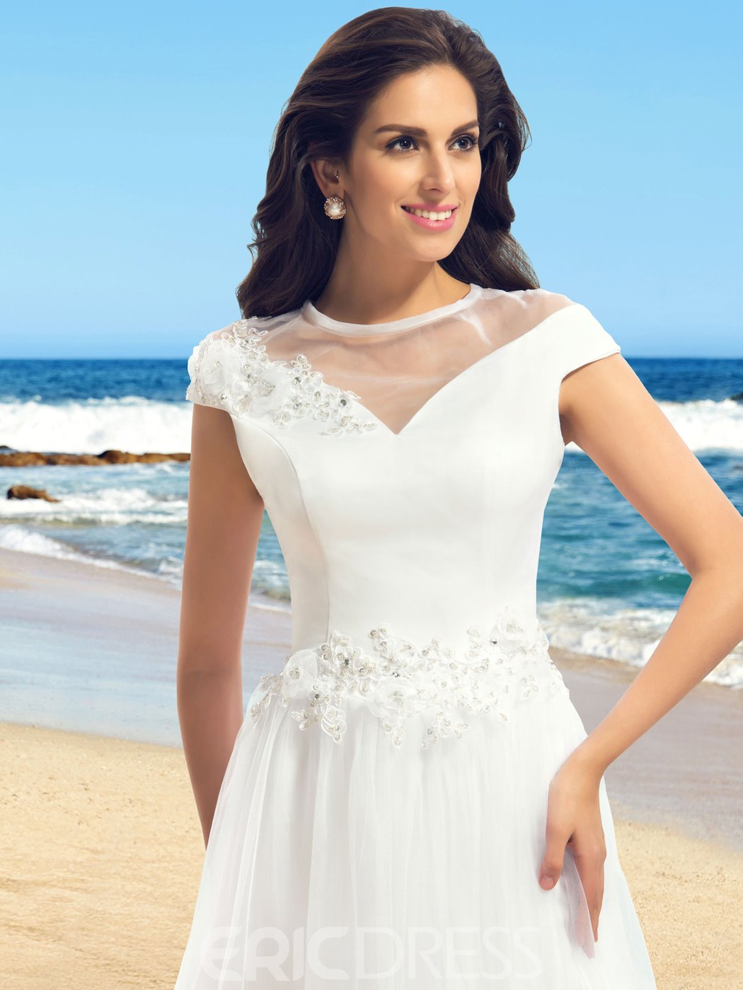 Classy Jewel Cap Sleeves Applique Wedding Dress
