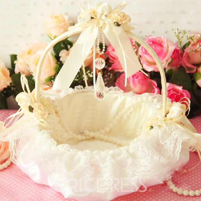 White Flower Basket in Satin & Lace With Bow