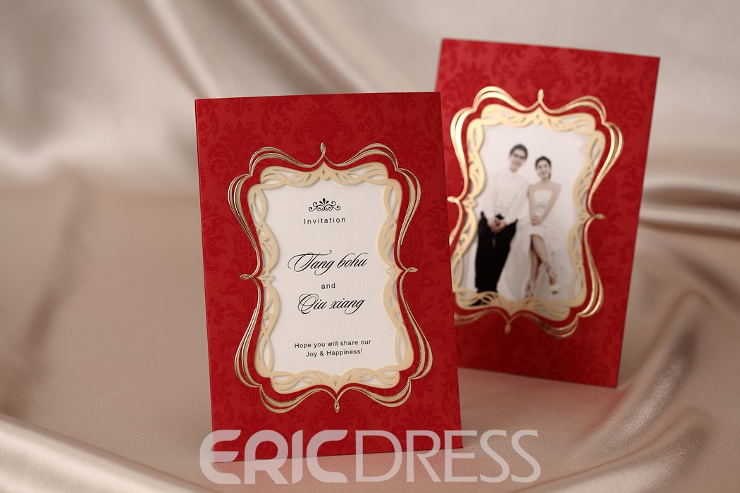 Bride & Groom Design Side Fold Invitation Cards (20 Pieces One Set)
