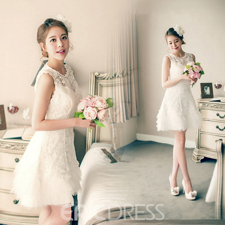 Ericdress Pretty Jewel A Line Lace Short Bridesmiad Dress