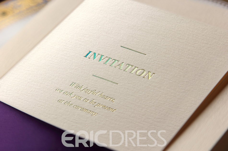 Classic Design Flat Card Invitation Cards With Ribbons (20 Pieces One Set)