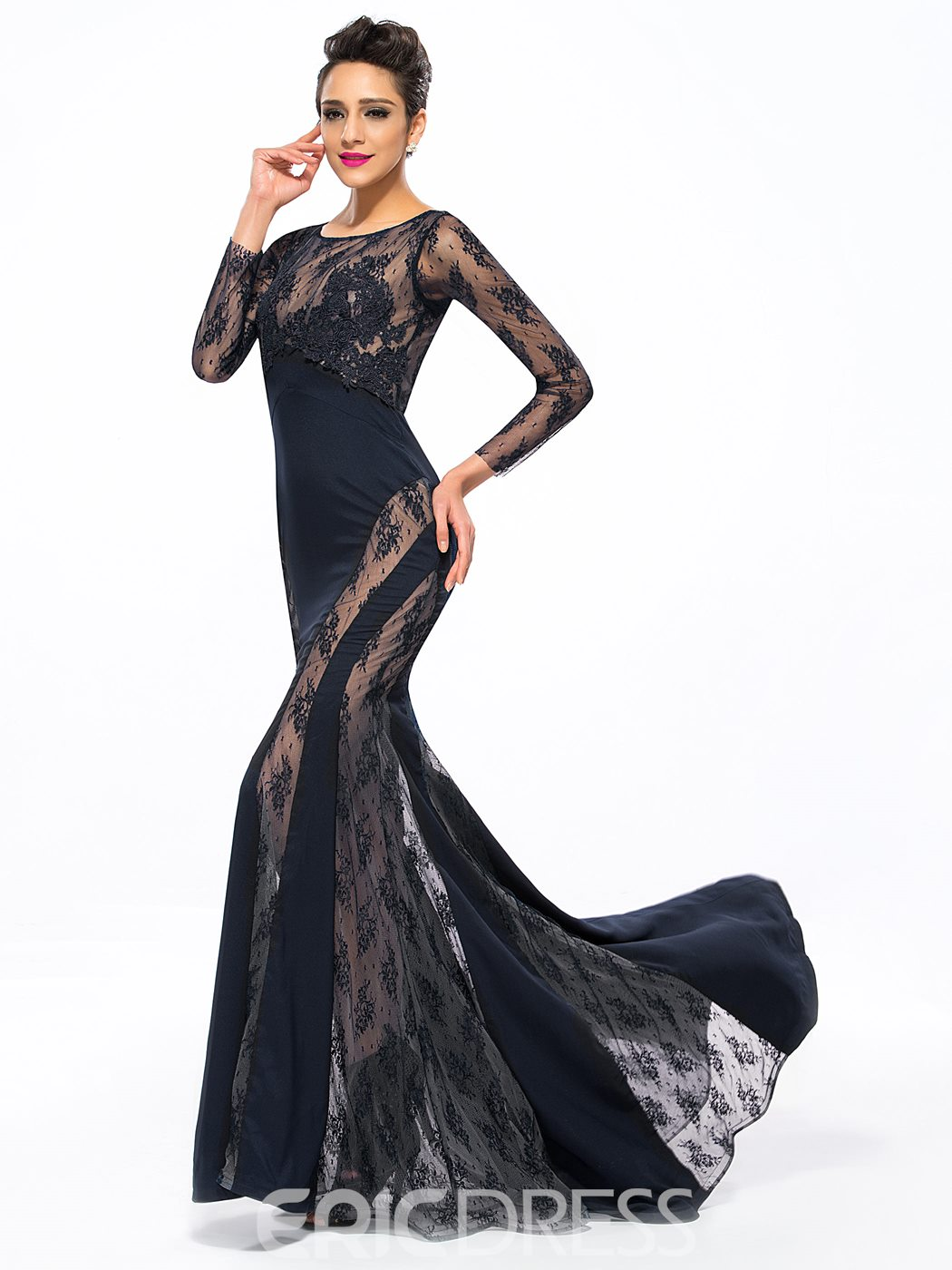 Ericdress Lace Appliques Mermaid Evening Dress With SweepTrain
