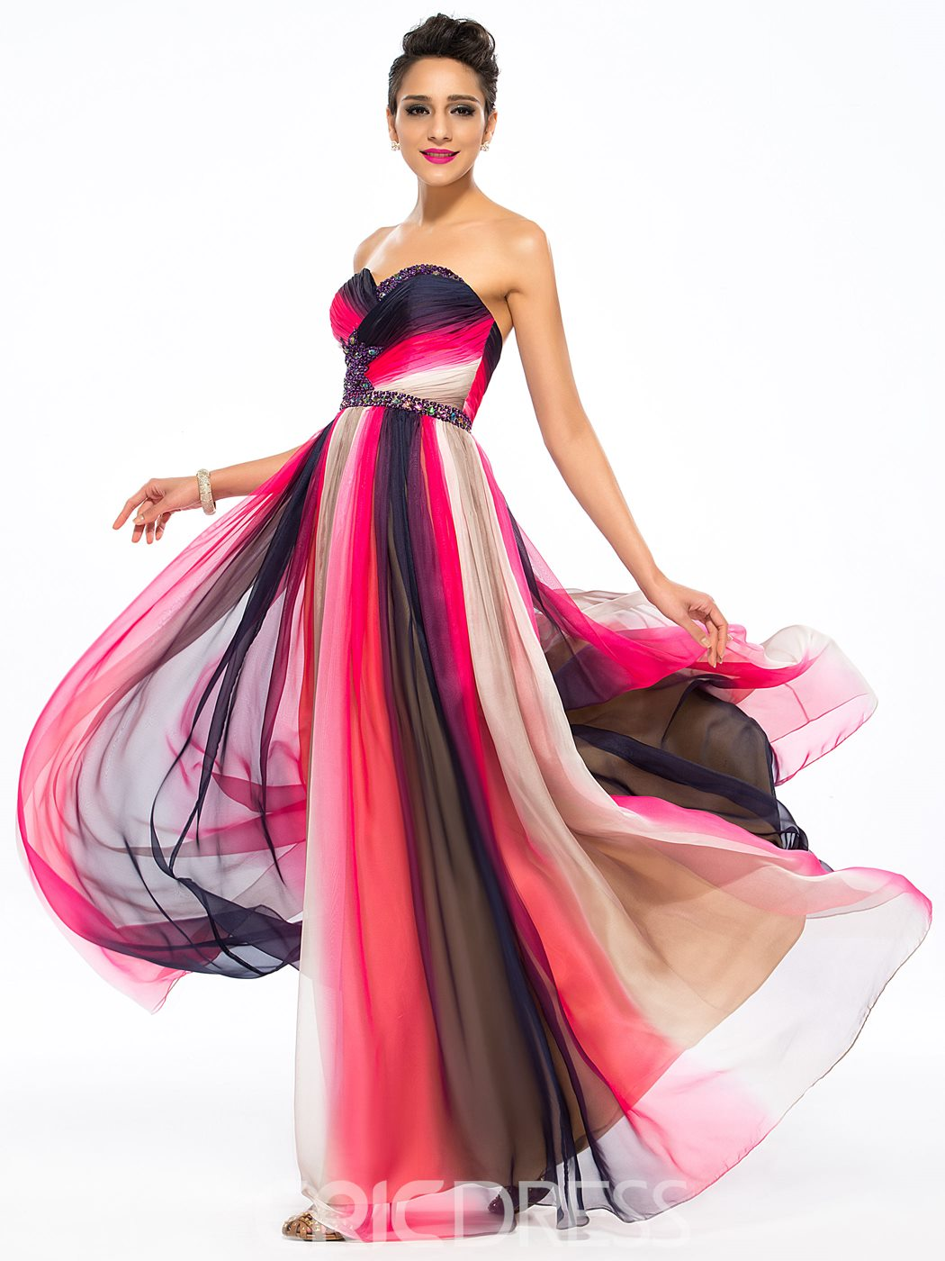 Chic Ruched A-Line Sweetheart Beadings Floor-Length Prom Dress