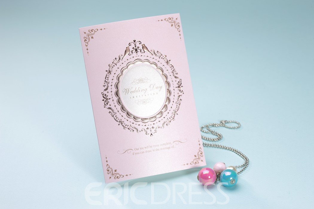 Classic Design Pink Tri-Fold Invitation Cards (20 Pieces One Set)
