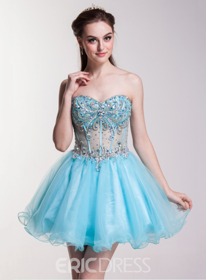 Exquisite Sweetheart Beading A-Line Homecoming Dress