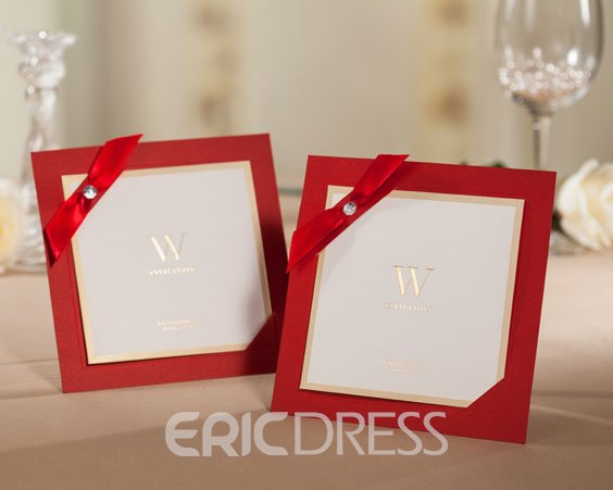 Classy Wedding Invitation with Red Ribbon (20 Pieces One Set)